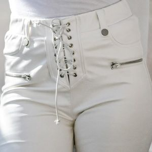 Laced Faux Leather Pants